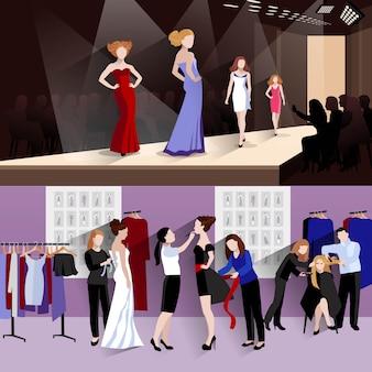ファッションモデルの水平方向のバナーセット