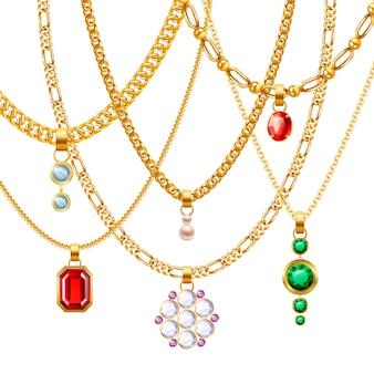 Набор золотых ювелирных цепочек