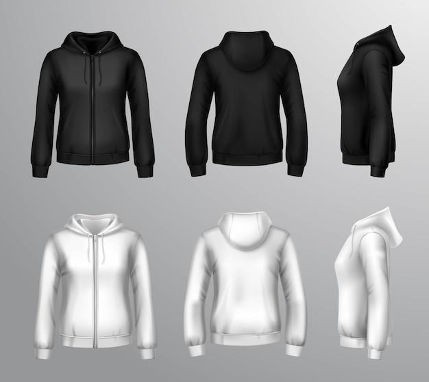 女性の黒と白のフード付きスウェットシャツ