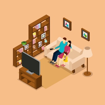 Семейный дом смотрит телевизор изометрические баннер