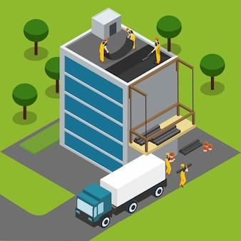 建築等尺性バナーを完成させる建設労働者