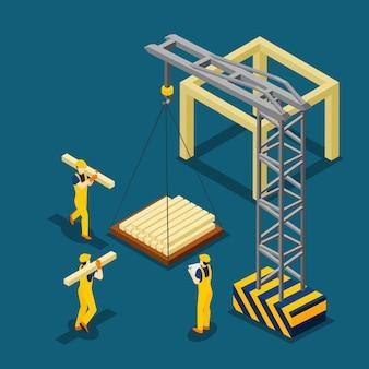 等尺性バナーを開始する建築工事
