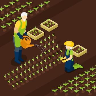 Пенсионеры фермеры жизнь изометрические баннер
