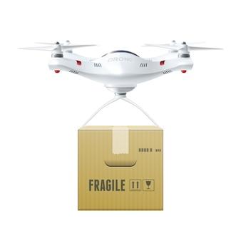 Беспилотный дрон с коробкой