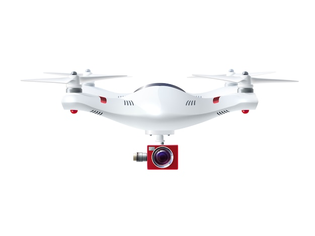 Белый дрон с красной камерой