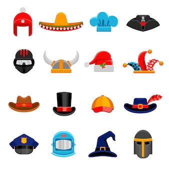 面白い帽子フラットアイコンセット