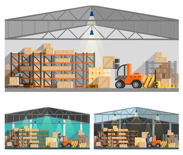 倉庫と保管構成セット