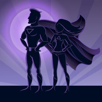 スーパーヒーローカップルのシルエット