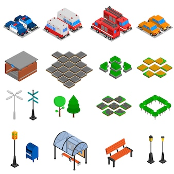 Набор элементов городской инфраструктуры