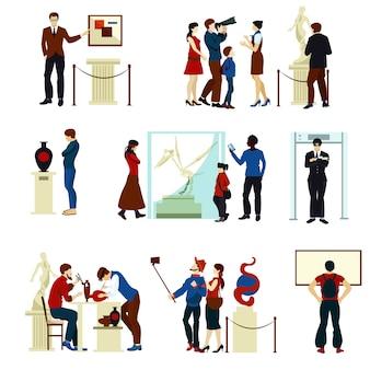 Люди в музее галерея цветные иконки