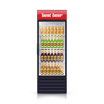 Пивной холодильник диспенсер реалистичные иллюстрации иконка