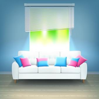 Интерьер диван неоновый свет реалистичная иллюстрация