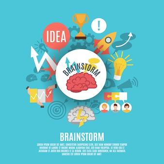 Плоский плакат с иконами мозговой штурм