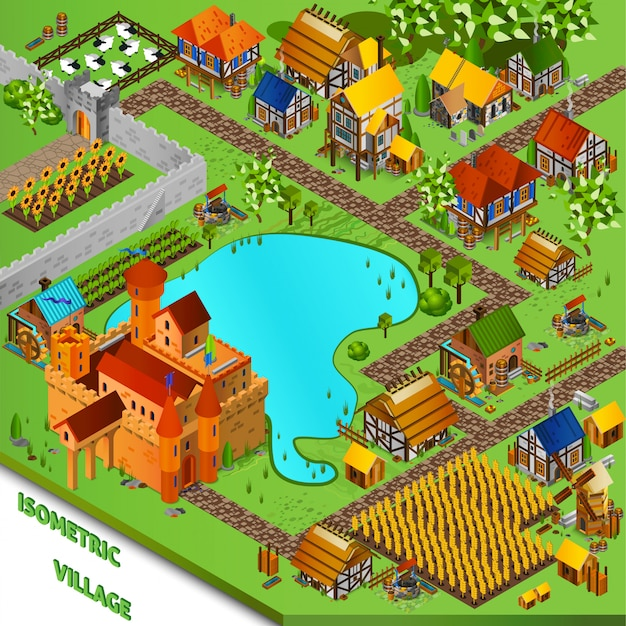 Средневековая деревня изометрические иллюстрация