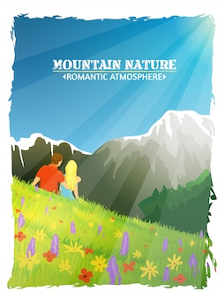 山の風景自然ロマンチックな背景ポスター