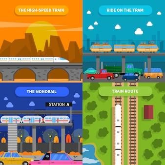 Набор иконок концепция поезда