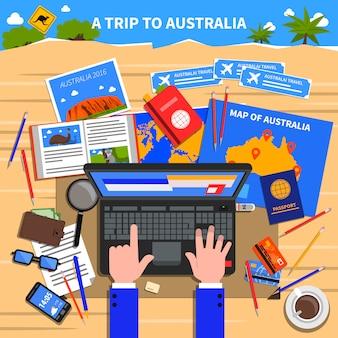 Поездка в австралию иллюстрация