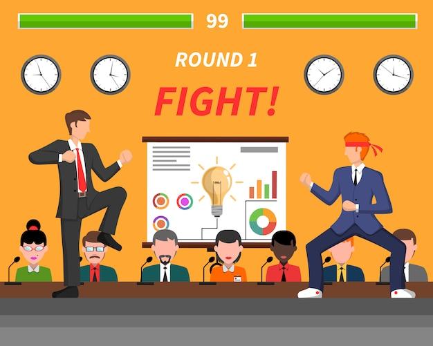 ビジネス競争のシンボルの戦いバナー