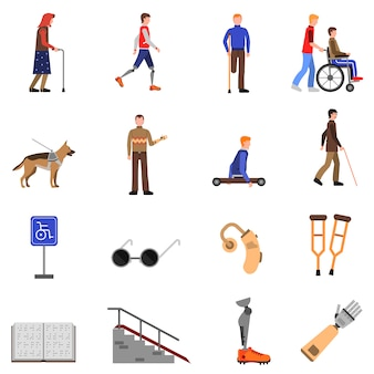 Набор для людей с ограниченными возможностями плоских иконок