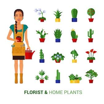 花屋と家の植物フラットアイコン