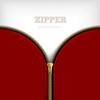 黒の縁取り縫製の黄金のメタリックハーフオープンジッパーで空白のジッパー背景