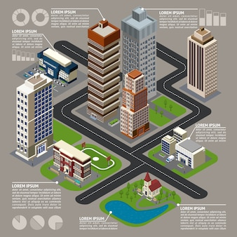 Изометрические город инфографика