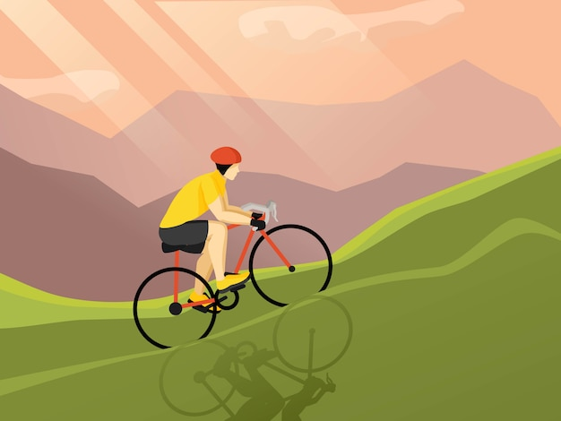 Велосипедист плоский плакат
