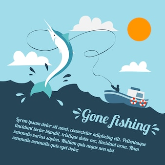 Плакат с рыбацкой лодкой