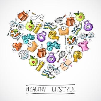 Фитнес эскизный постер