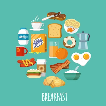 Завтрак значок плоский
