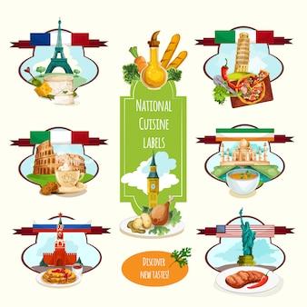 Этикетки национальной кухни