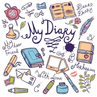 Набор пишущих инструментов дневника