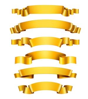 Реалистичные золотые ленты