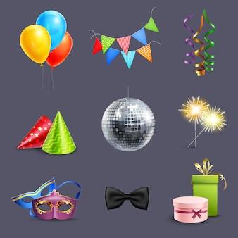 Реалистичные праздничные иконки
