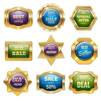 Золотые значки продажи