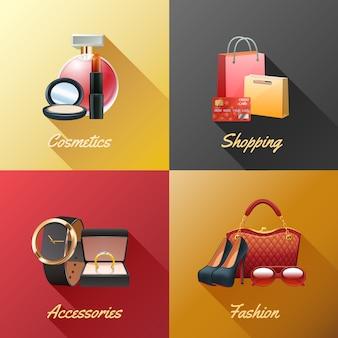 女性ショッピングデザインコンセプトセット