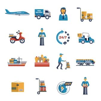 Плоский набор иконок доставки