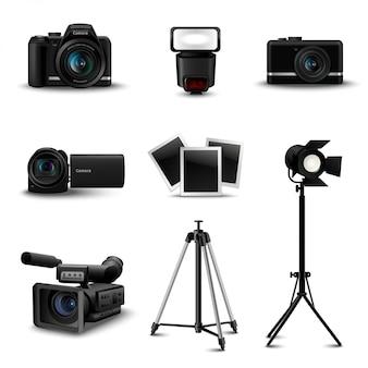 Реалистичные значки камеры
