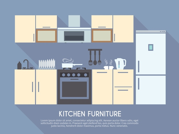 Кухонная мебель иллюстрация