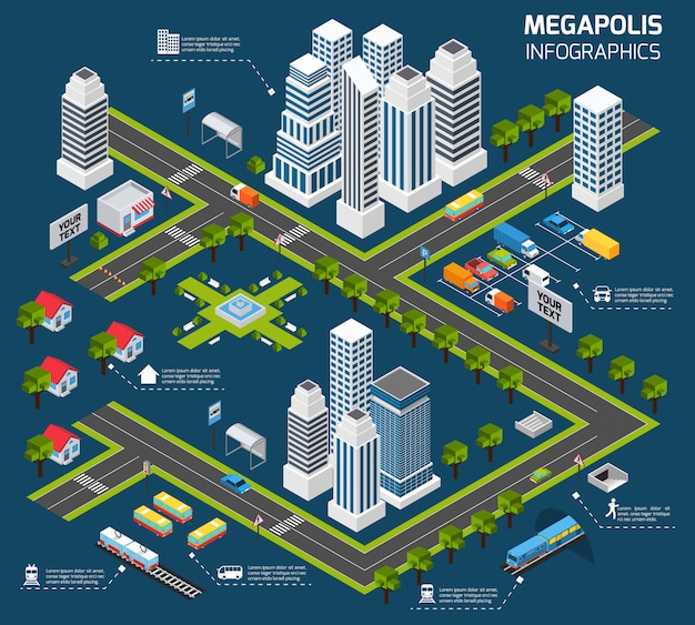 Изометрические городская концепция