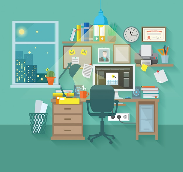 Рабочая область в комнате