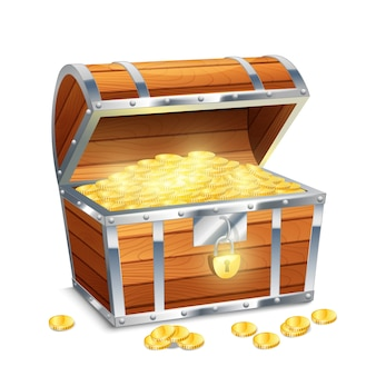 リアルなオールドスタイルの海賊宝箱