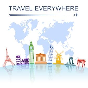 旅行のランドマークのコンセプトポスター印刷