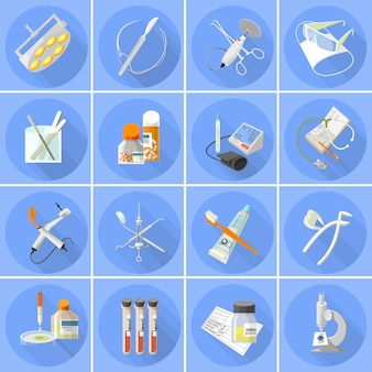 Набор иконок медицины плоский