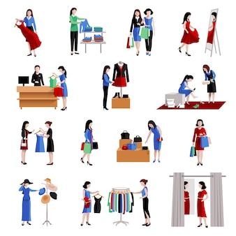 Женщина в торговом центре, покупая модные товары иконки набор