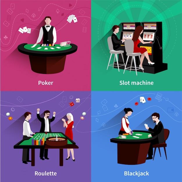 フラットポーカースロットマシンルーレットブラックジャックのアイコンで設定されたカジノデザインコンセプトの人々