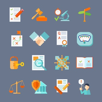 Набор плоских иконок защиты правового соглашения и защиты авторских прав