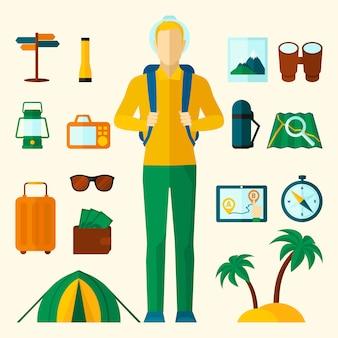 Туристические иконки плоский набор