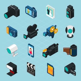 等尺性写真とビデオのアイコン