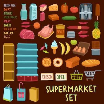 Супермаркет значок набор